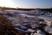 Ice piled up on the river near Doaktown
