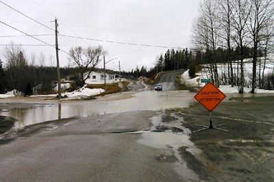 Water over road at Drummond